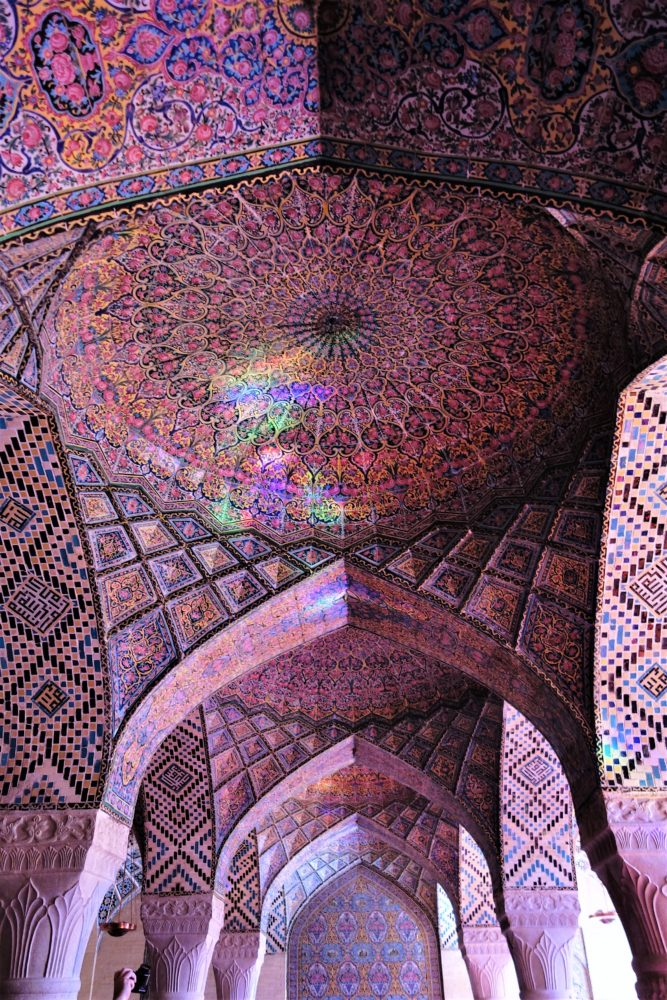 Pink mosque - the most colourful building in Iran, not just because of its mosaics