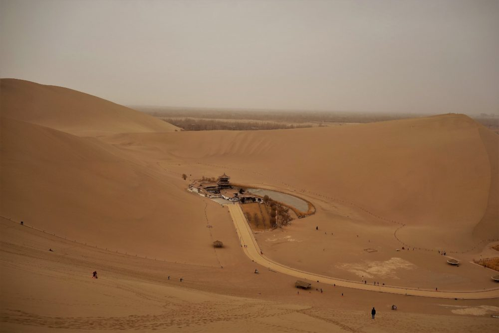 ... and admiring the oasis from the top