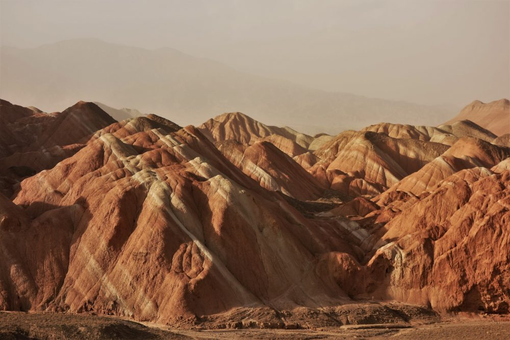 The Danxia mountains are sandstone formations and look like a ginger rainbow :)